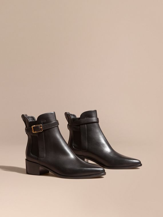 Buckle Detail Leather Chelsea Boots