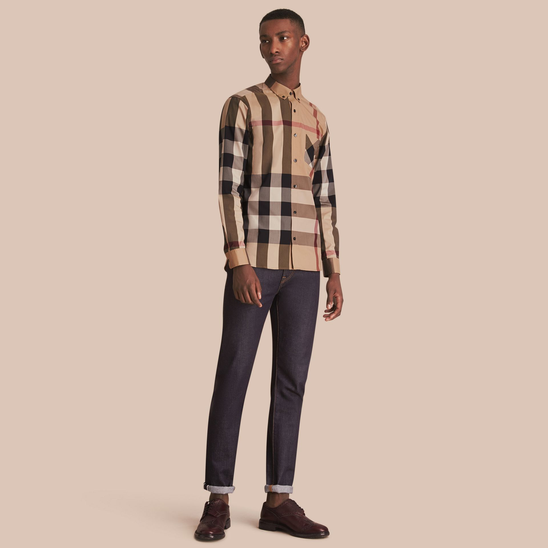 Button-down Collar Check Stretch Cotton Blend Shirt Camel - gallery image 1