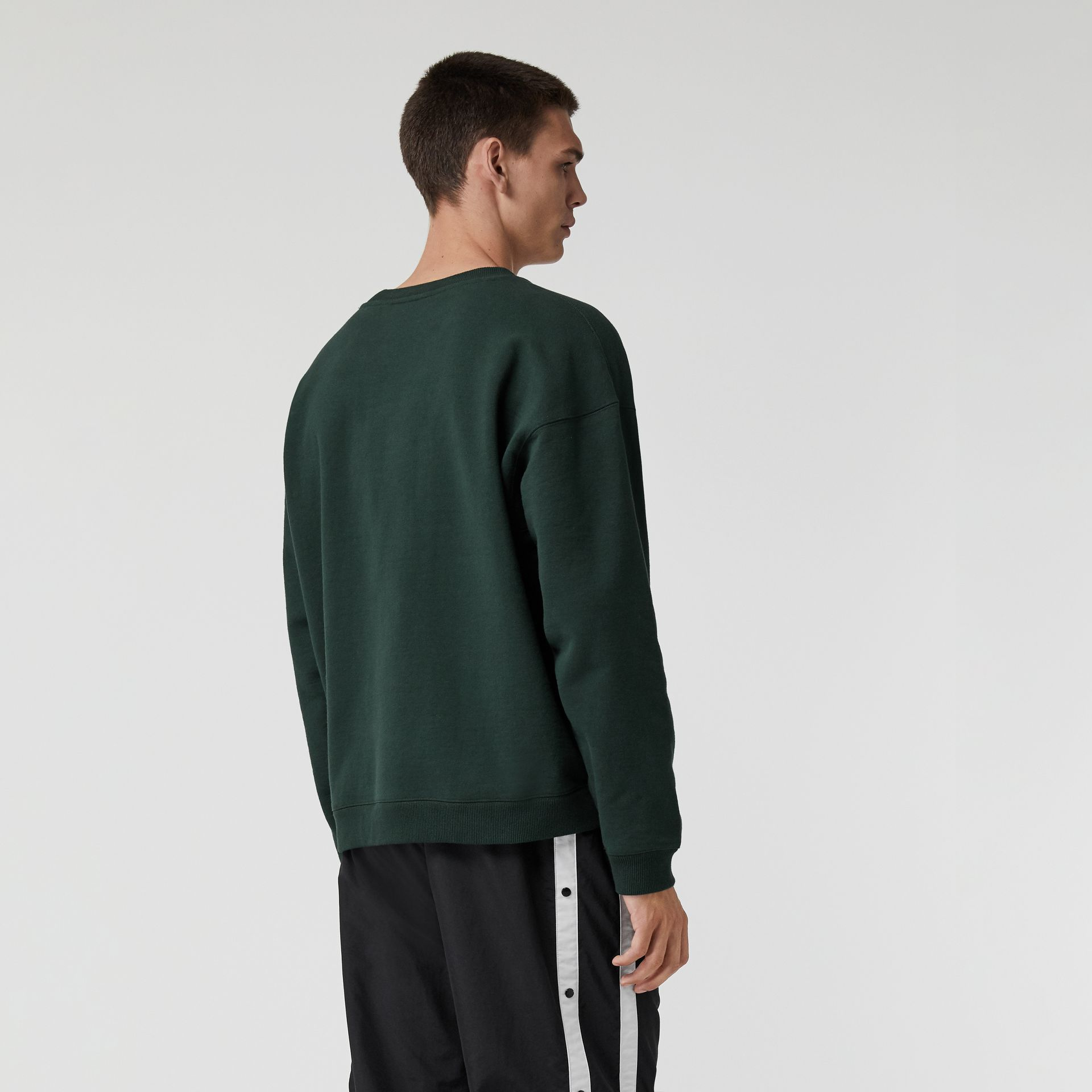 Embroidered Logo Jersey Sweatshirt in Forest Green - Men | Burberry Australia - gallery image 2