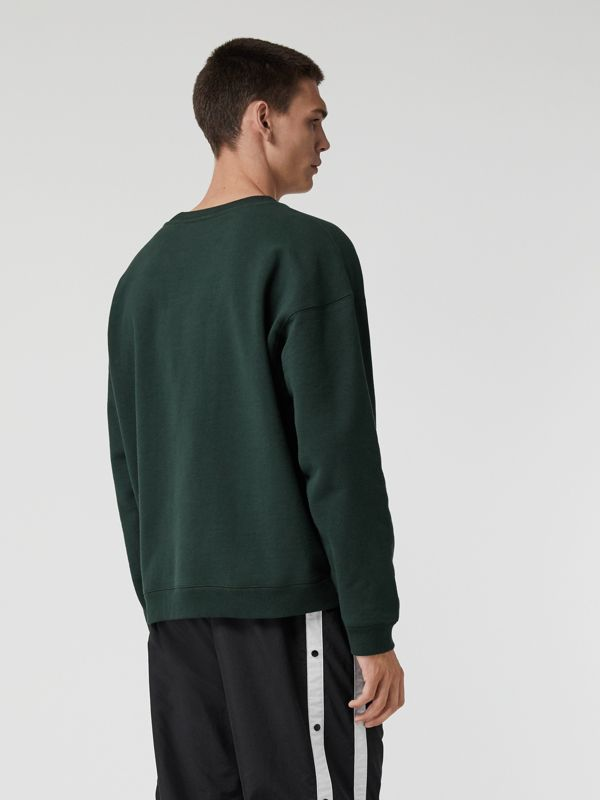 Embroidered Logo Jersey Sweatshirt in Forest Green - Men | Burberry Australia - cell image 2