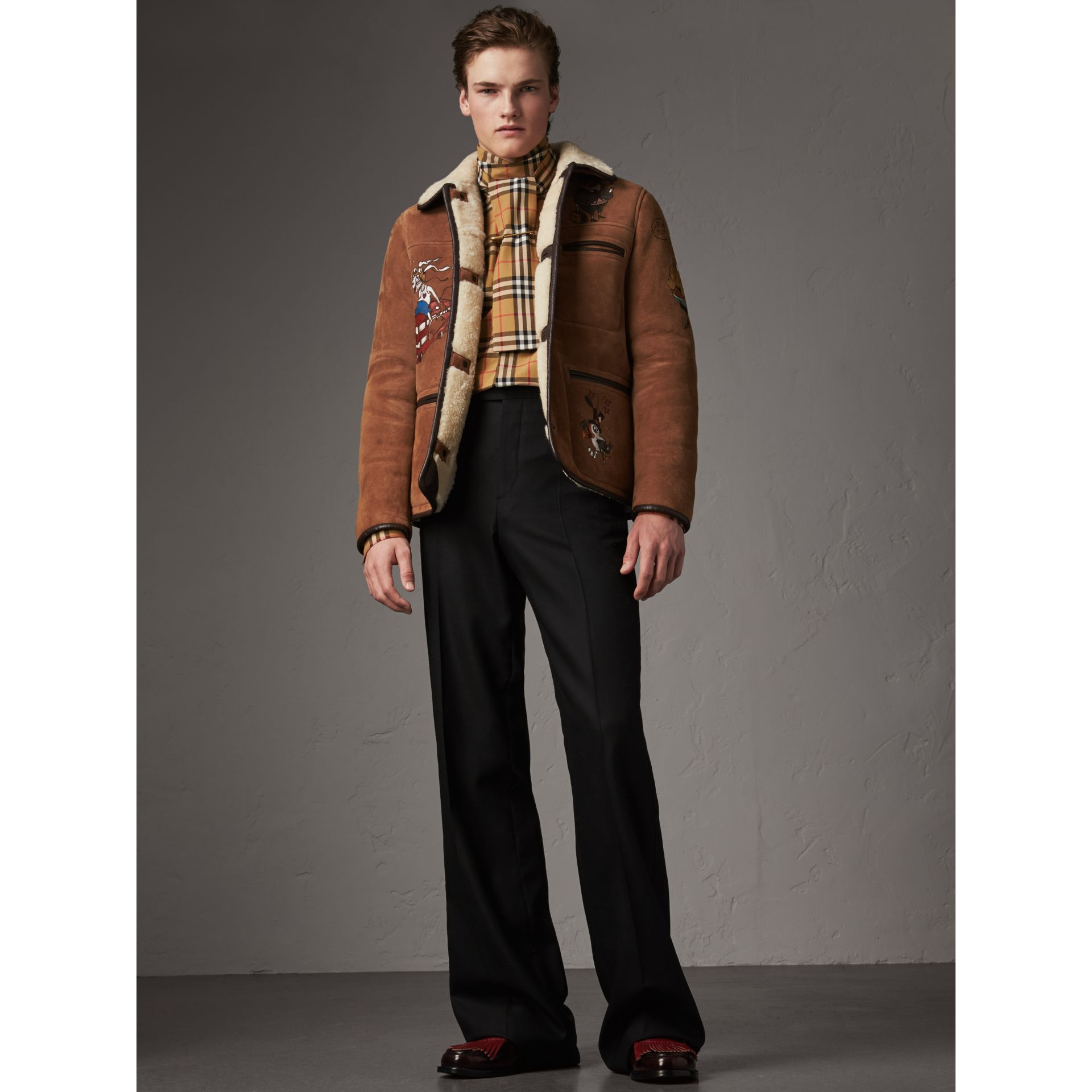 Sketch Print Shearling Jacket in Biscuit - Men | Burberry - gallery image 0