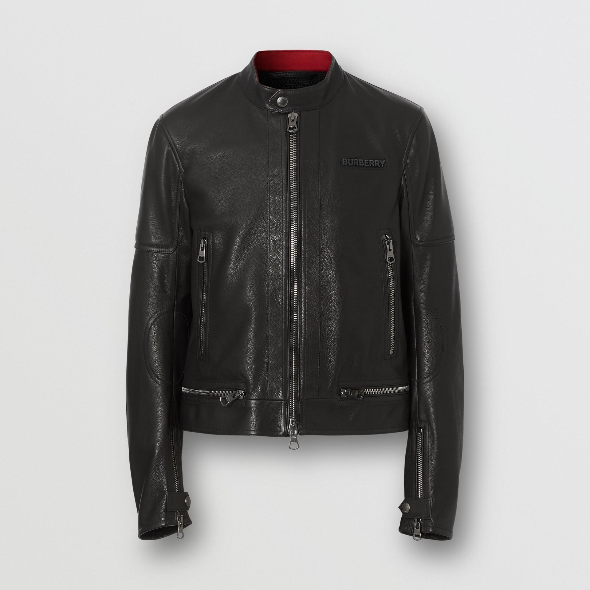 Logo Appliqué Leather Jacket in Black - Men | Burberry - gallery image 3