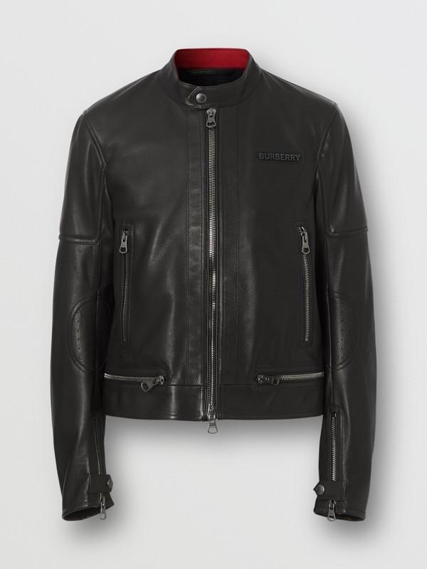 Logo Appliqué Leather Jacket in Black - Men | Burberry - cell image 3
