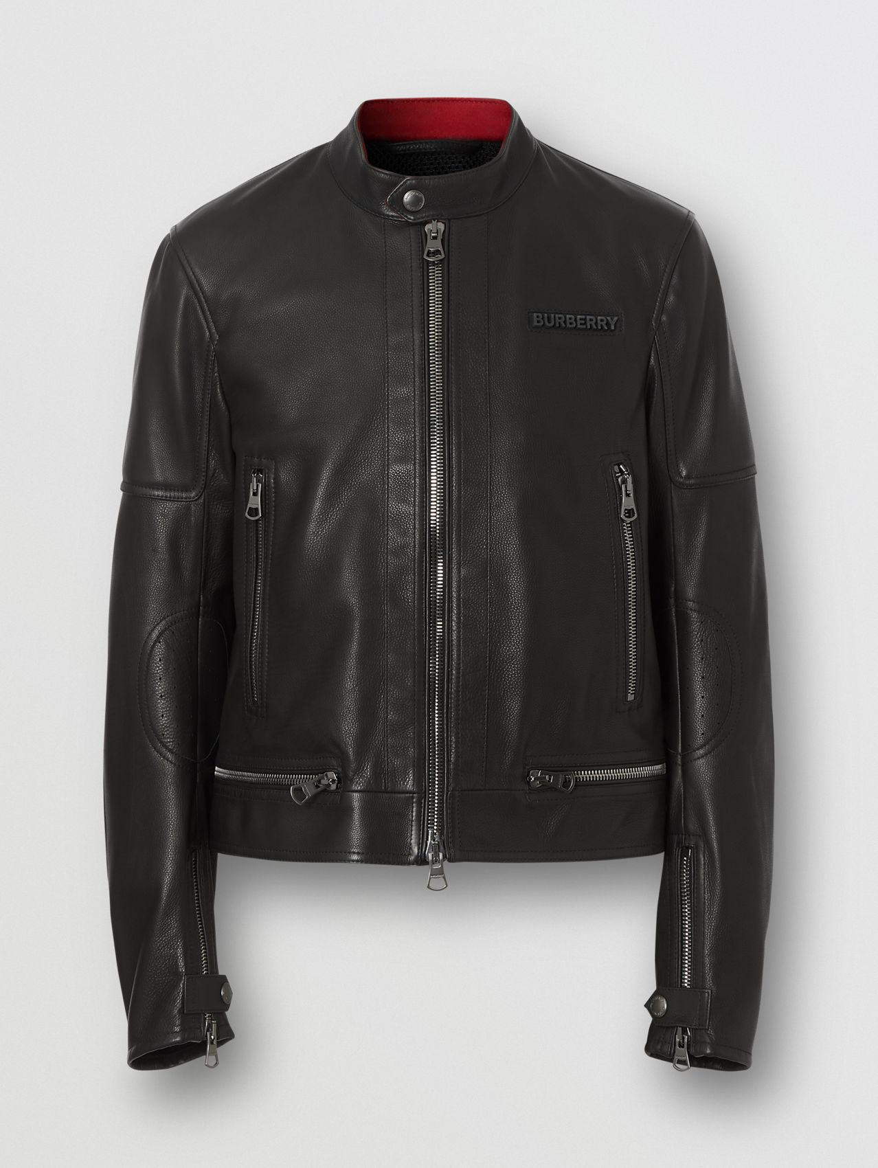 Logo Appliqué Leather Jacket in Black