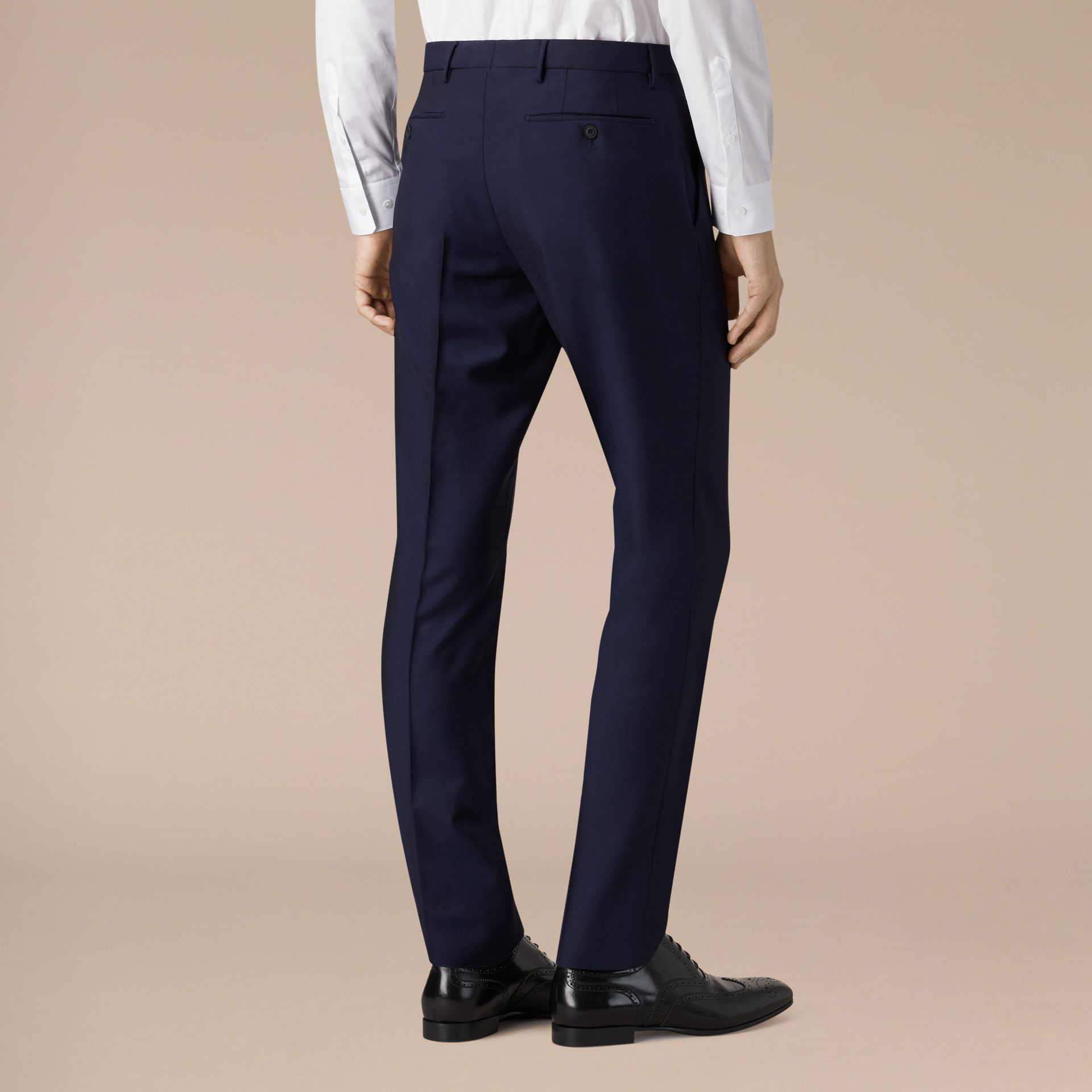 Slim Fit Wool Mohair Trousers Royal Navy - gallery image 3