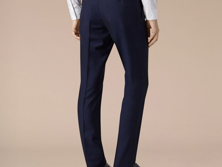 Slim Fit Wool Mohair Trousers in Royal Navy - Men | Burberry - cell image 2