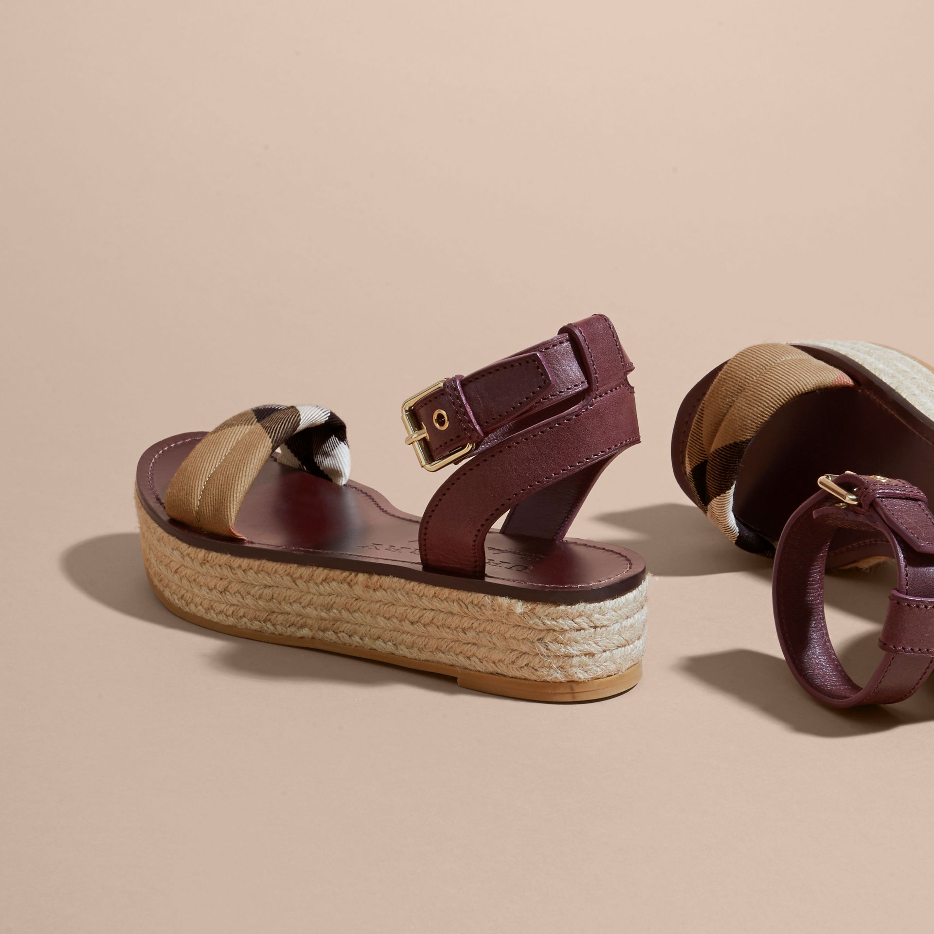Leather and House Check Espadrille Platform Sandals Cerise Purple - gallery image 5