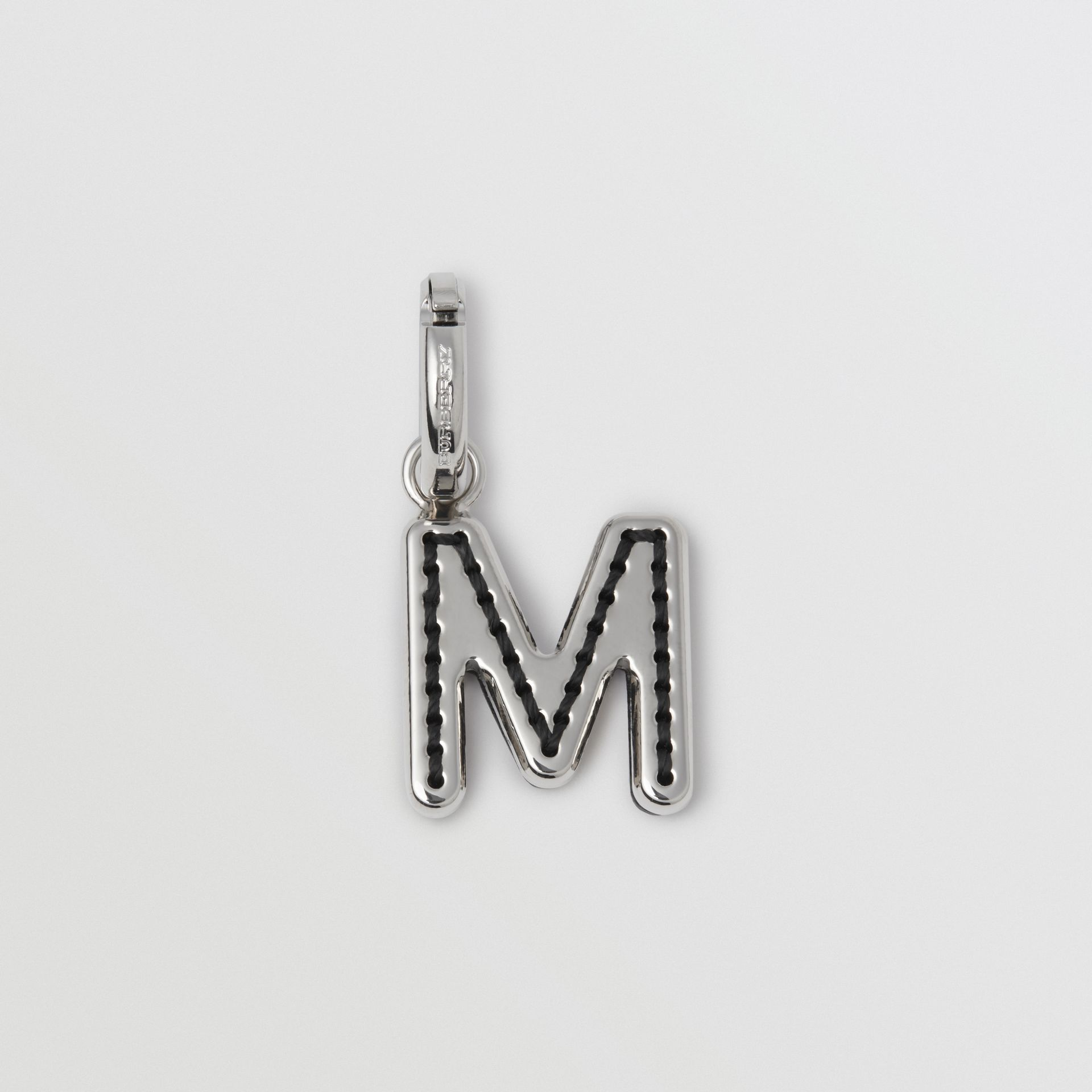 Leather-topstitched 'M' Alphabet Charm in Palladio/black - Women | Burberry United Kingdom - gallery image 0