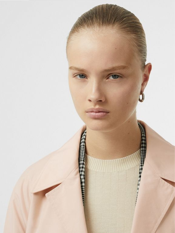 Belted Check Cotton Silk Car Coat in Chalk Pink - Women | Burberry - cell image 1