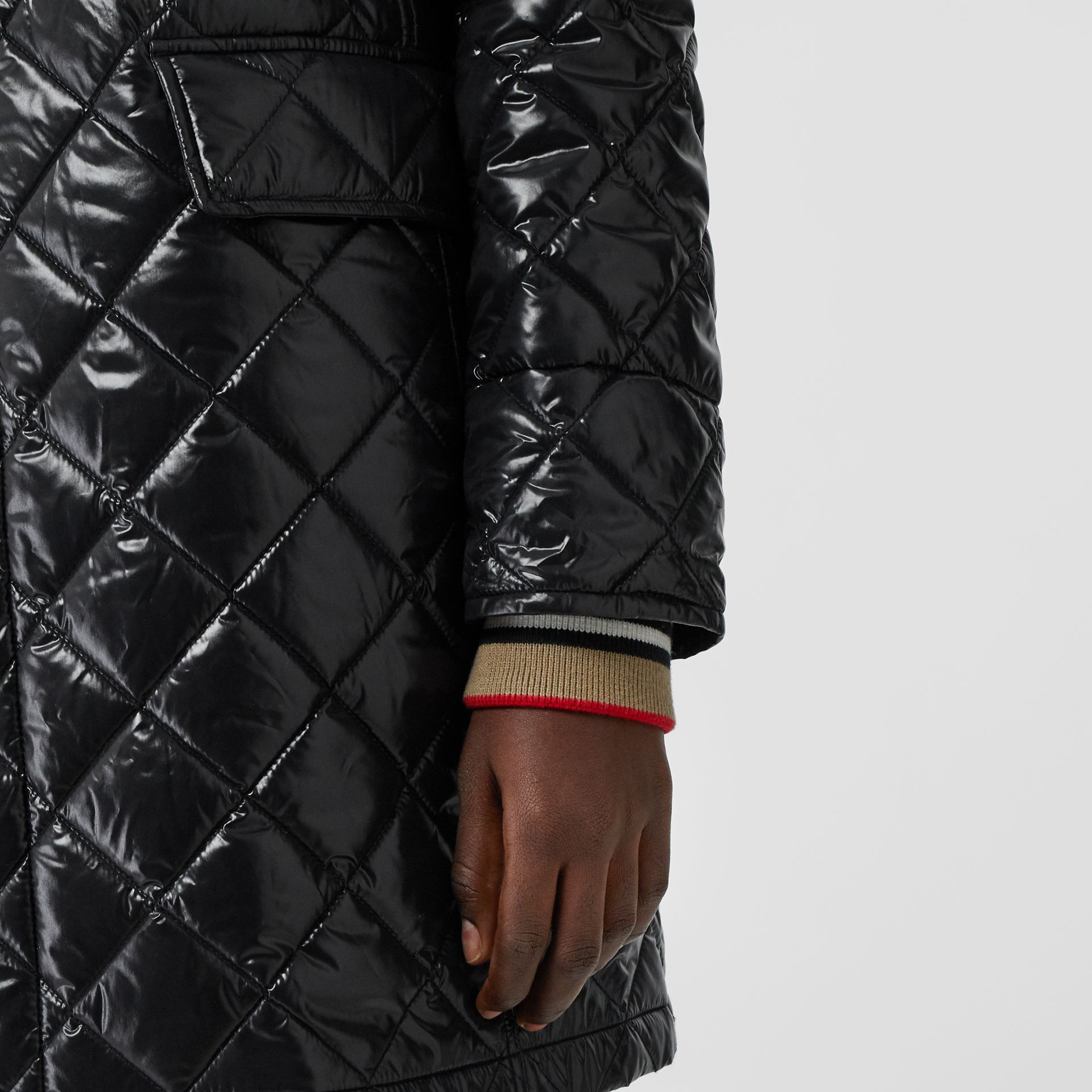 Detachable Hood Monogram Motif Quilted Coat in Black - Women | Burberry United States - gallery image 4