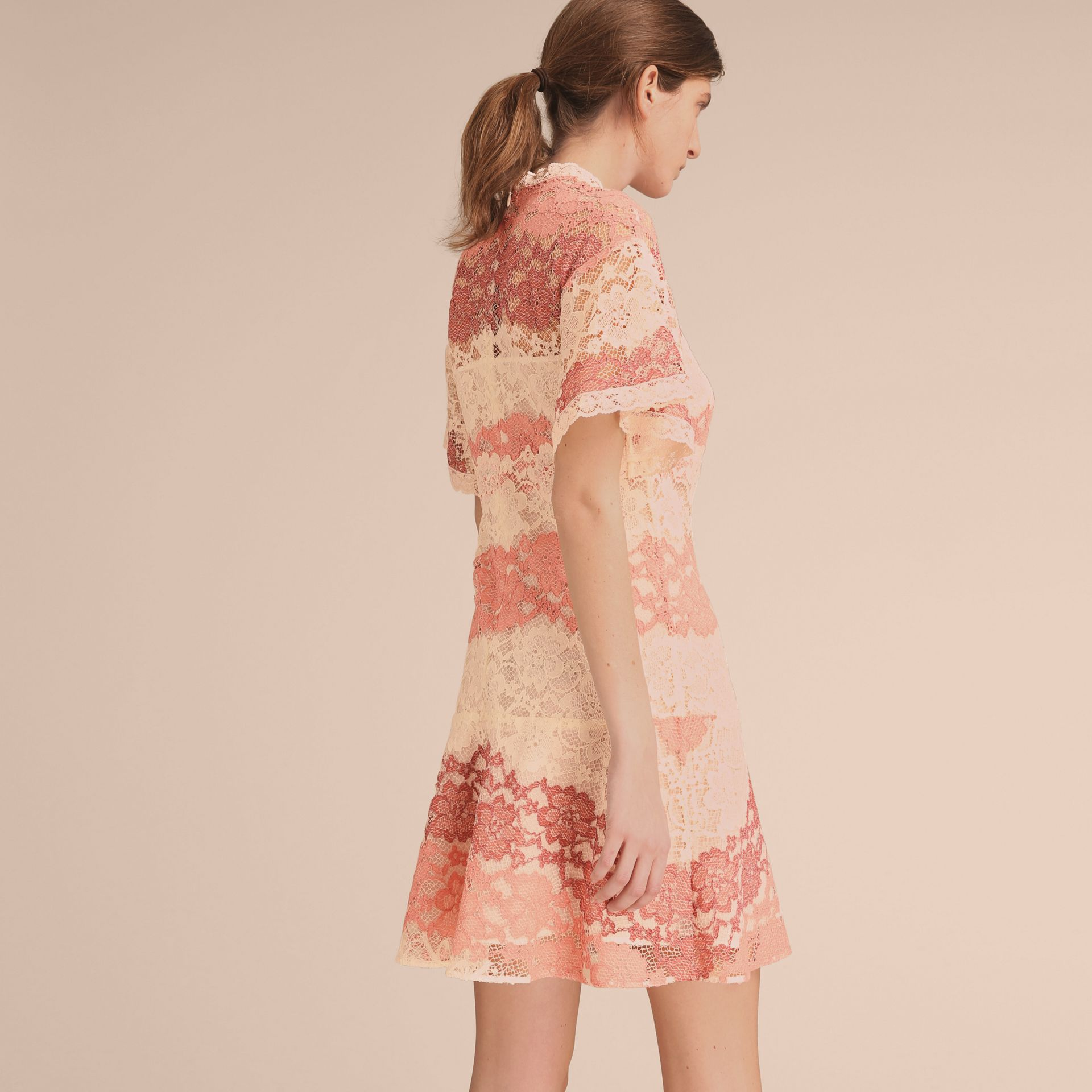 Floral Lace Dress with Flutter Sleeves Dusty Pink - gallery image 3