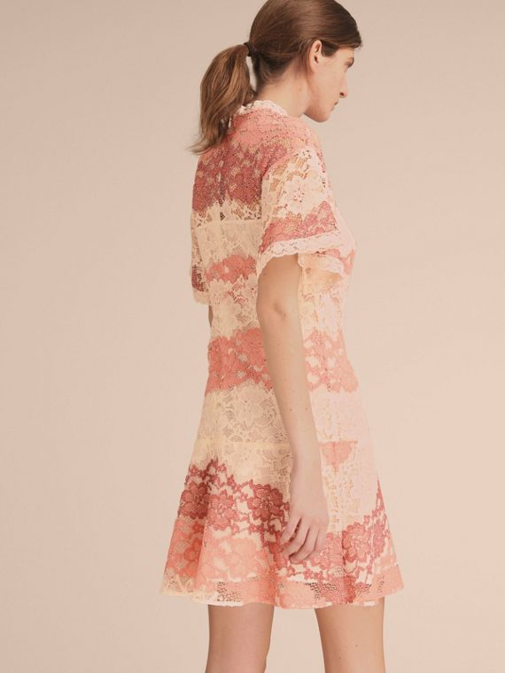 Floral Lace Dress with Flutter Sleeves Dusty Pink - cell image 2