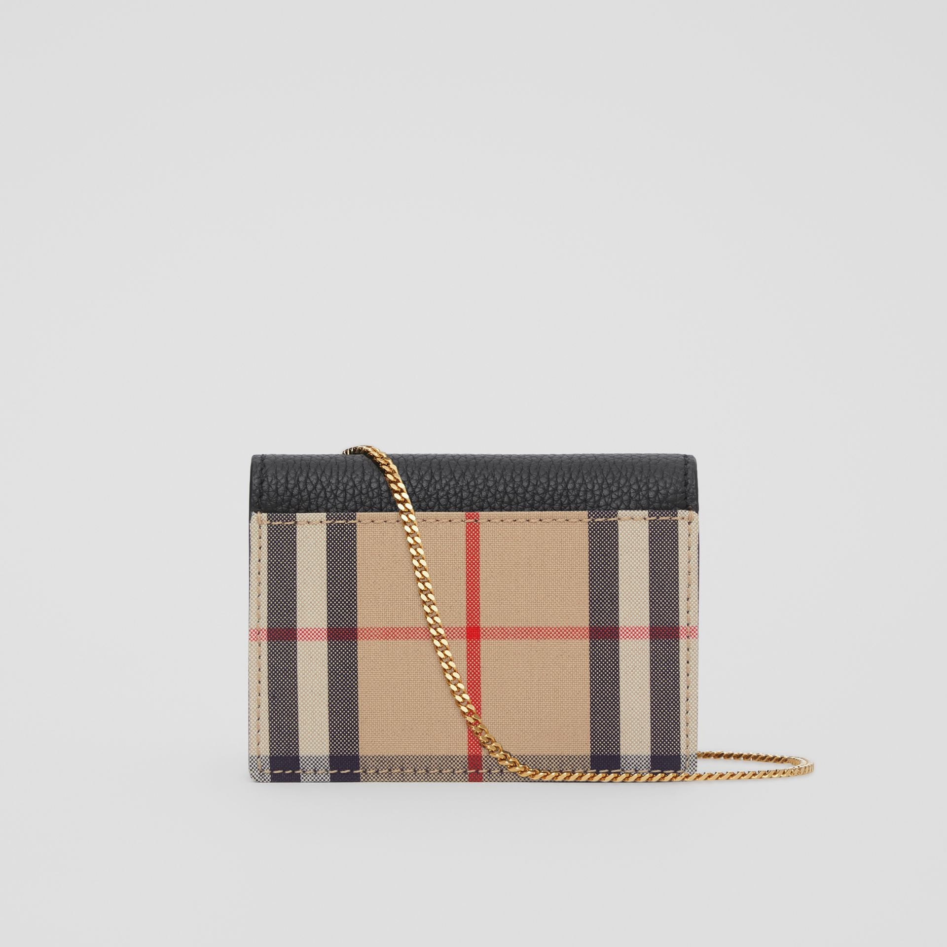 Vintage Check and Leather Card Case with Strap in Black - Women | Burberry United Kingdom - gallery image 5