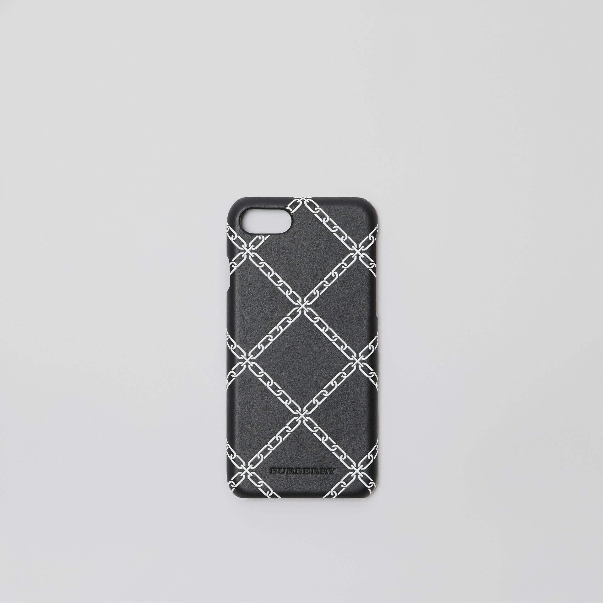 Link Print Leather iPhone 8 Case in Black | Burberry Canada - gallery image 0