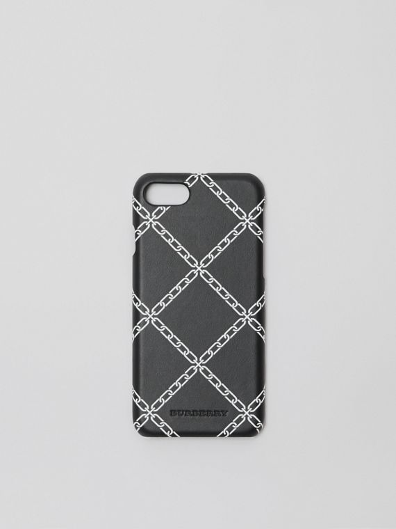 Link Print Leather iPhone 8 Case in Black