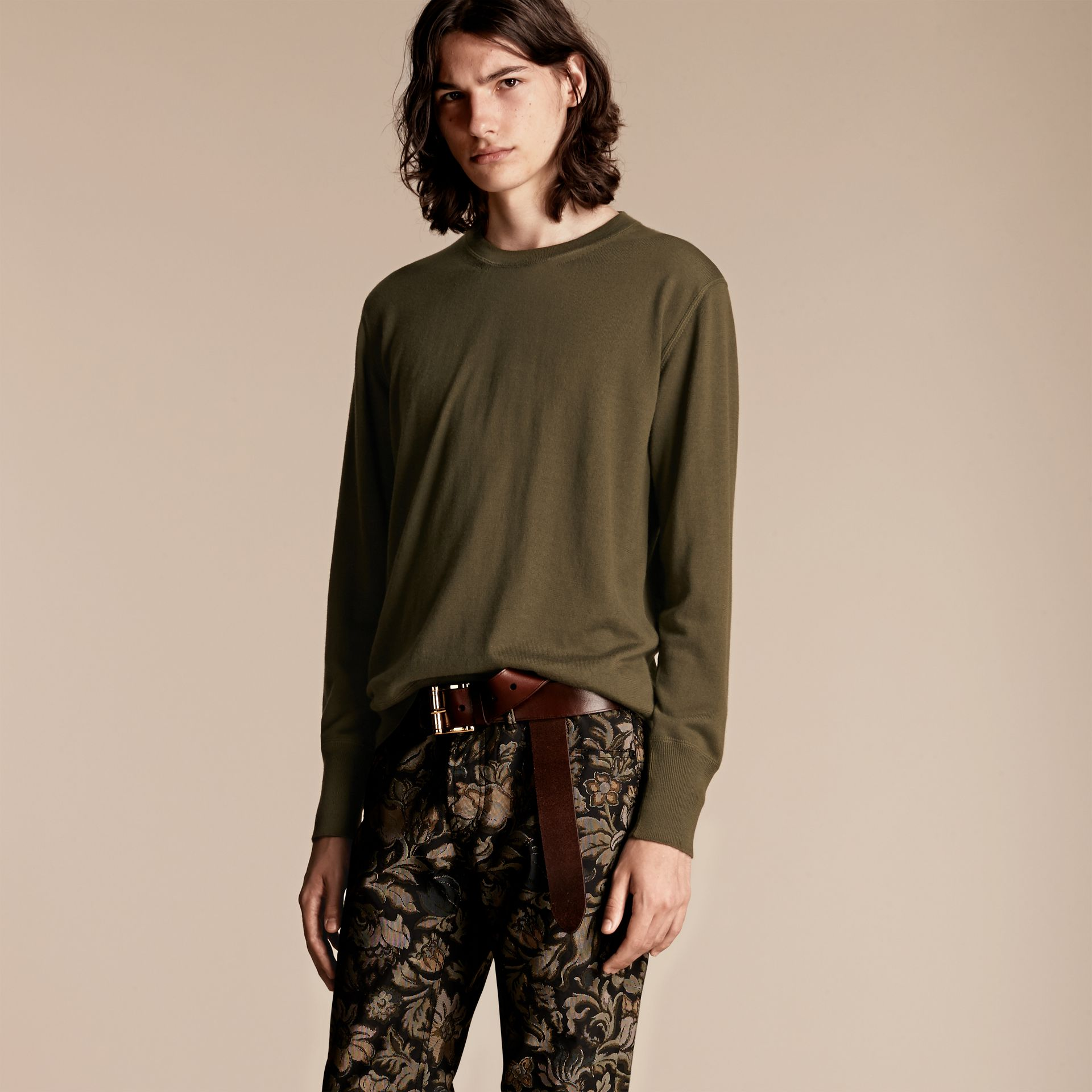 Crew Neck Cashmere Sweater in Military Olive - gallery image 6