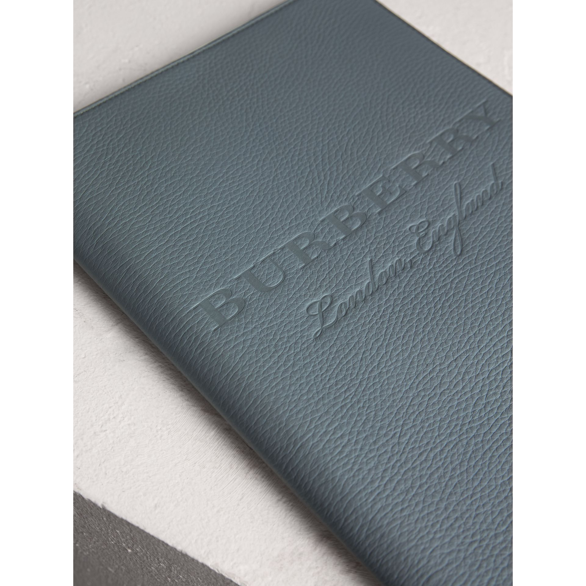 Embossed Grainy Leather Ziparound A4 Notebook Case in Dusty Teal Blue | Burberry - gallery image 1