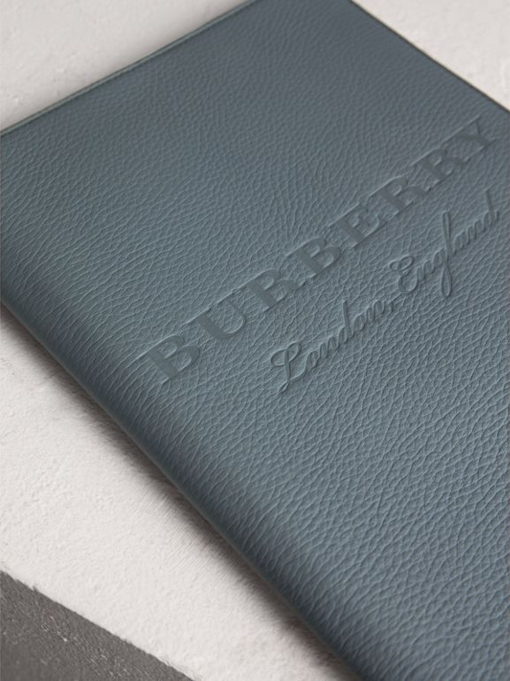 Embossed Grainy Leather Ziparound A4 Notebook Case in Dusty Teal Blue | Burberry Australia - cell image 1