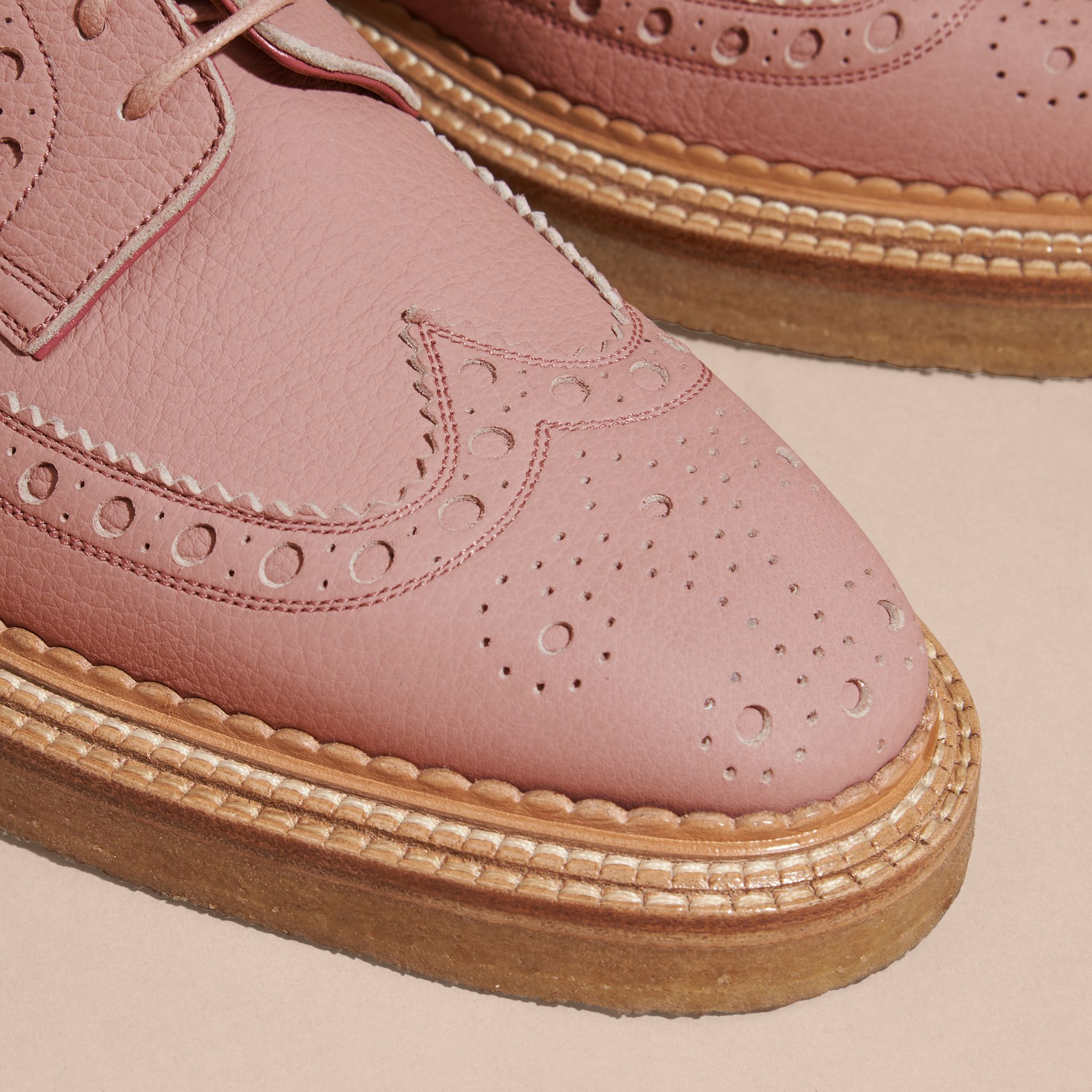 Leather Wingtip Brogues Rose Pink - gallery image 2