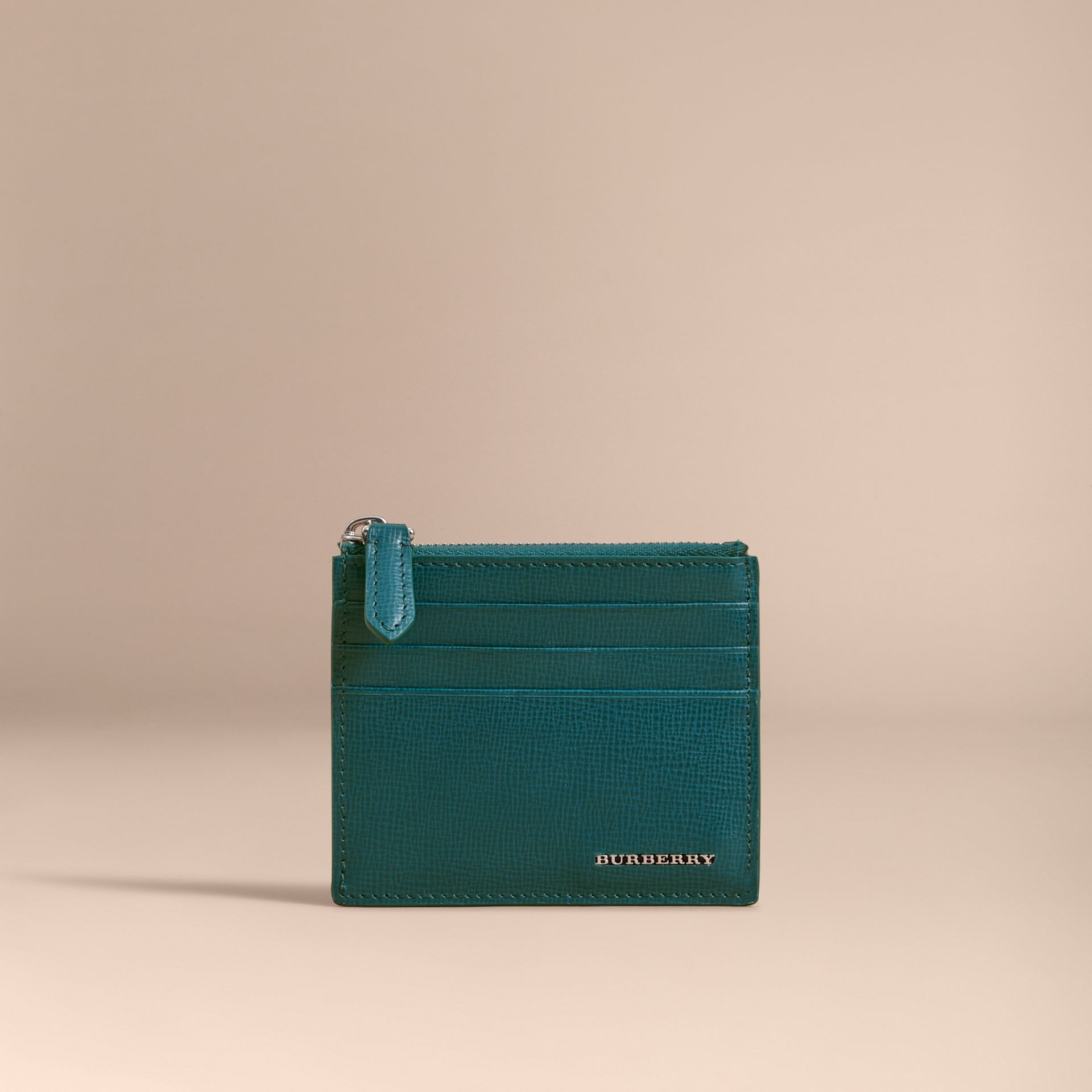 London Leather Zip-top Card Case in Dark Teal | Burberry - gallery image 1