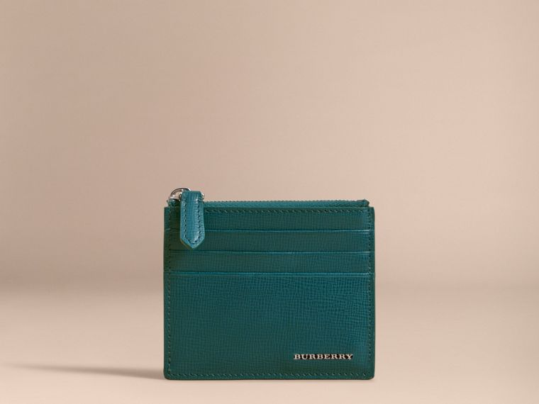 London Leather Zip-top Card Case in Dark Teal | Burberry Singapore - cell image 1