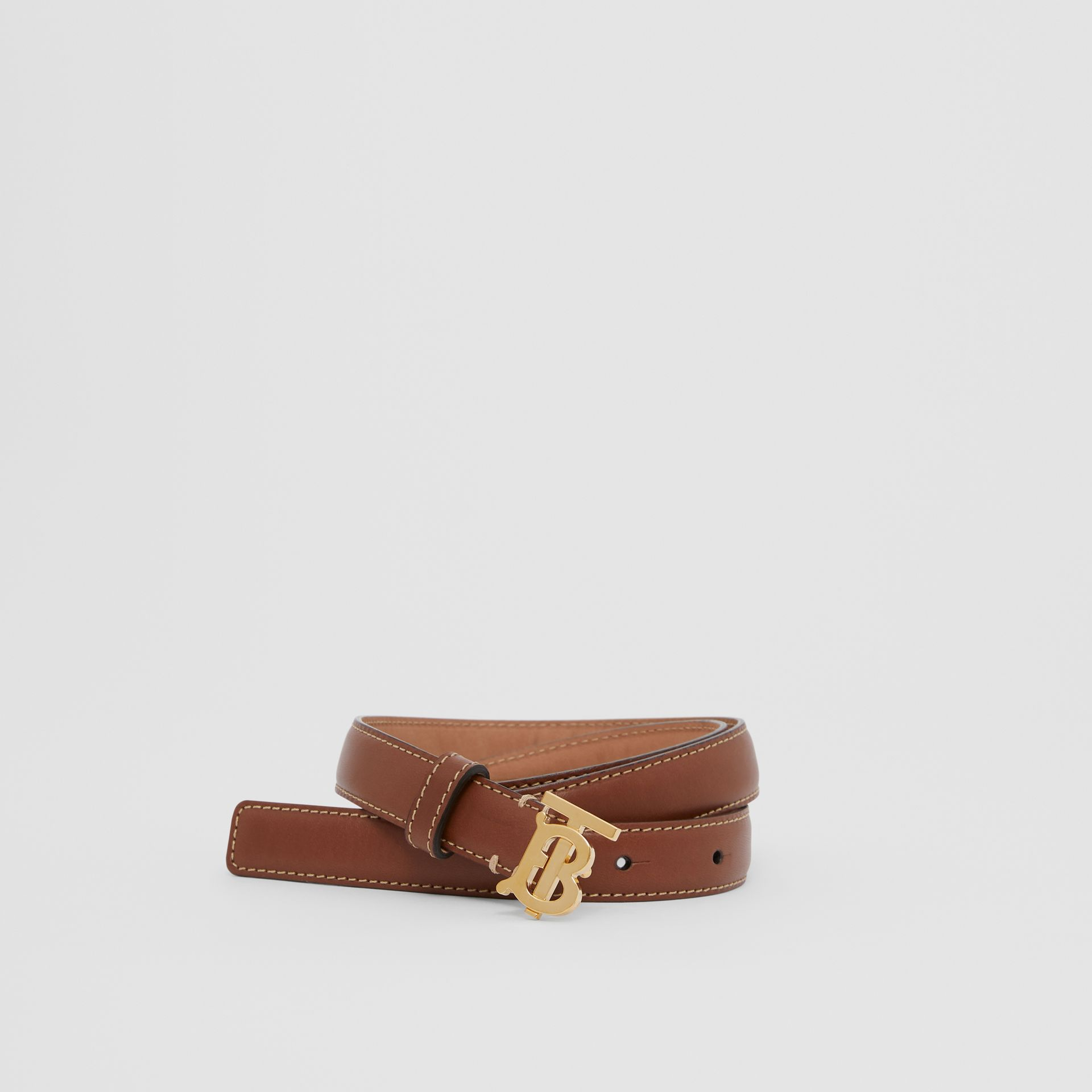 Monogram Motif Topstitched Leather Belt in Tan/light Gold - Women | Burberry United Kingdom - gallery image 0
