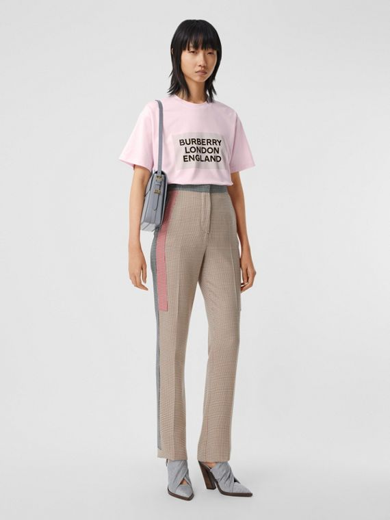 Logo Print Stretch Cotton Oversized T-shirt in Cloud Pink