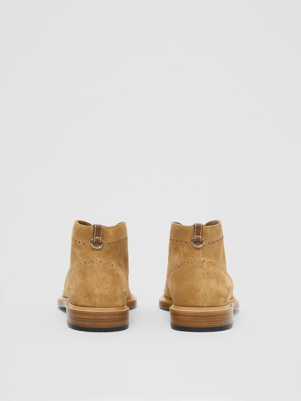Brogue Detail Suede Boots in Sandy Beige - Men | Burberry - cell image 3