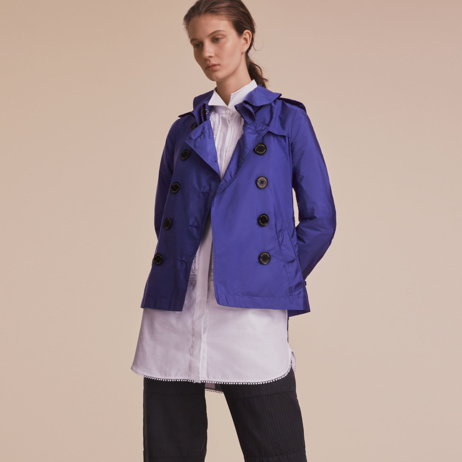 Showerproof Trench Coat in Sapphire Blue - Women | Burberry - gallery image 6