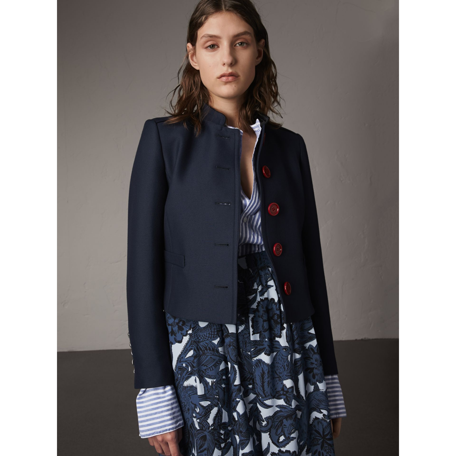 Resin Button Wool Cotton Blend Jacket in Ink Blue - Women | Burberry - gallery image 1