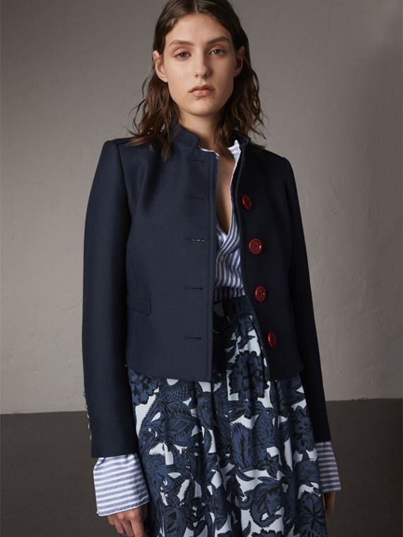 Resin Button Wool Cotton Blend Jacket - Women | Burberry Australia