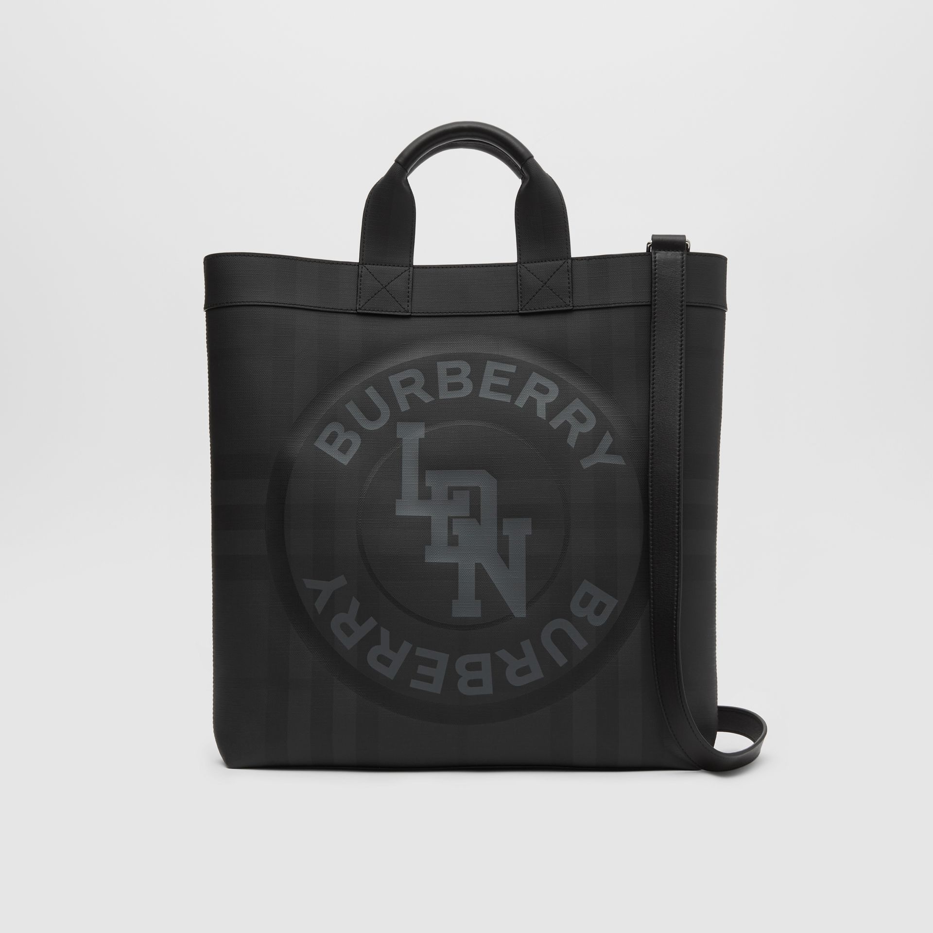 Logo Graphic London Check Tote in Dark Charcoal - Men | Burberry - gallery image 0