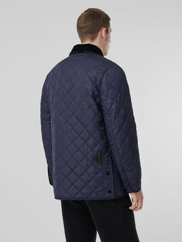Diamond Quilted Thermoregulated Barn Jacket in Navy - Men | Burberry - cell image 2