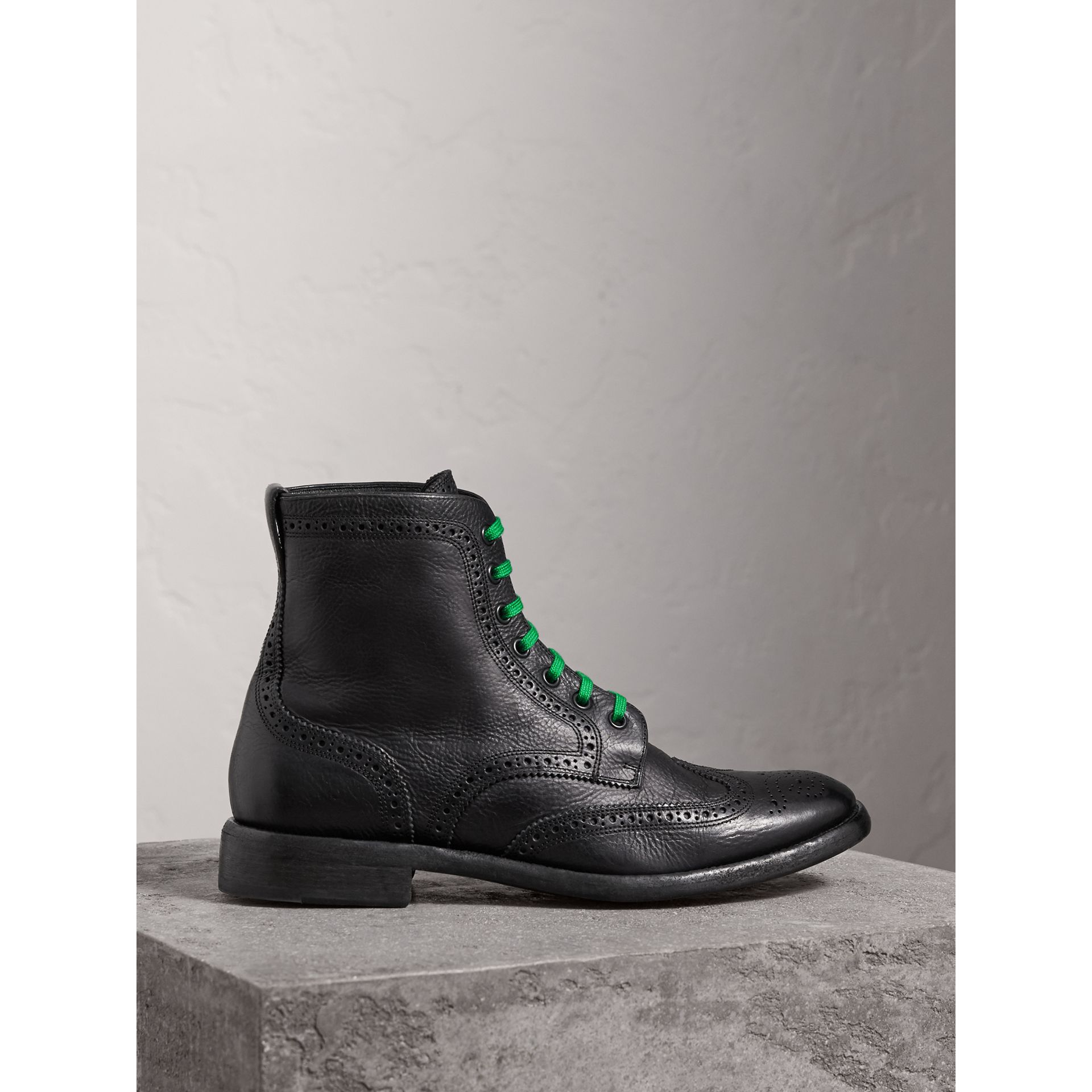 Leather Brogue Boots with Bright Laces in Black - Men | Burberry Hong Kong - gallery image 0