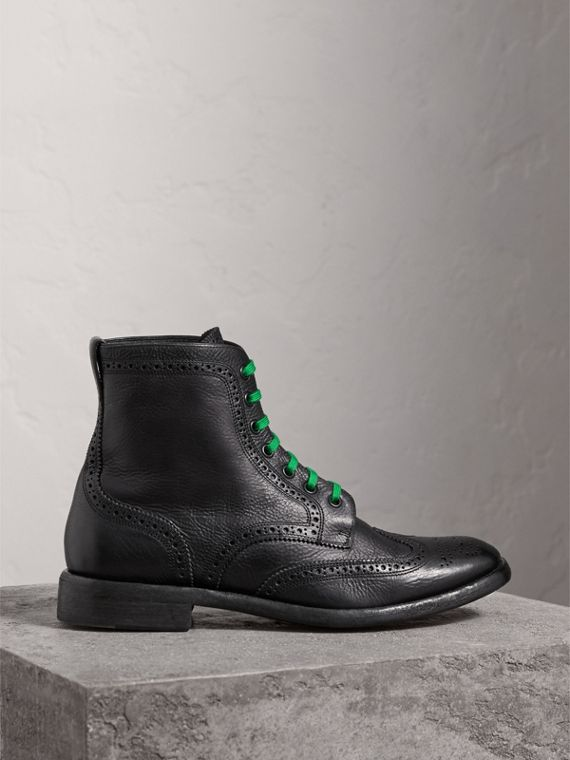 Leather Brogue Boots with Bright Laces in Black