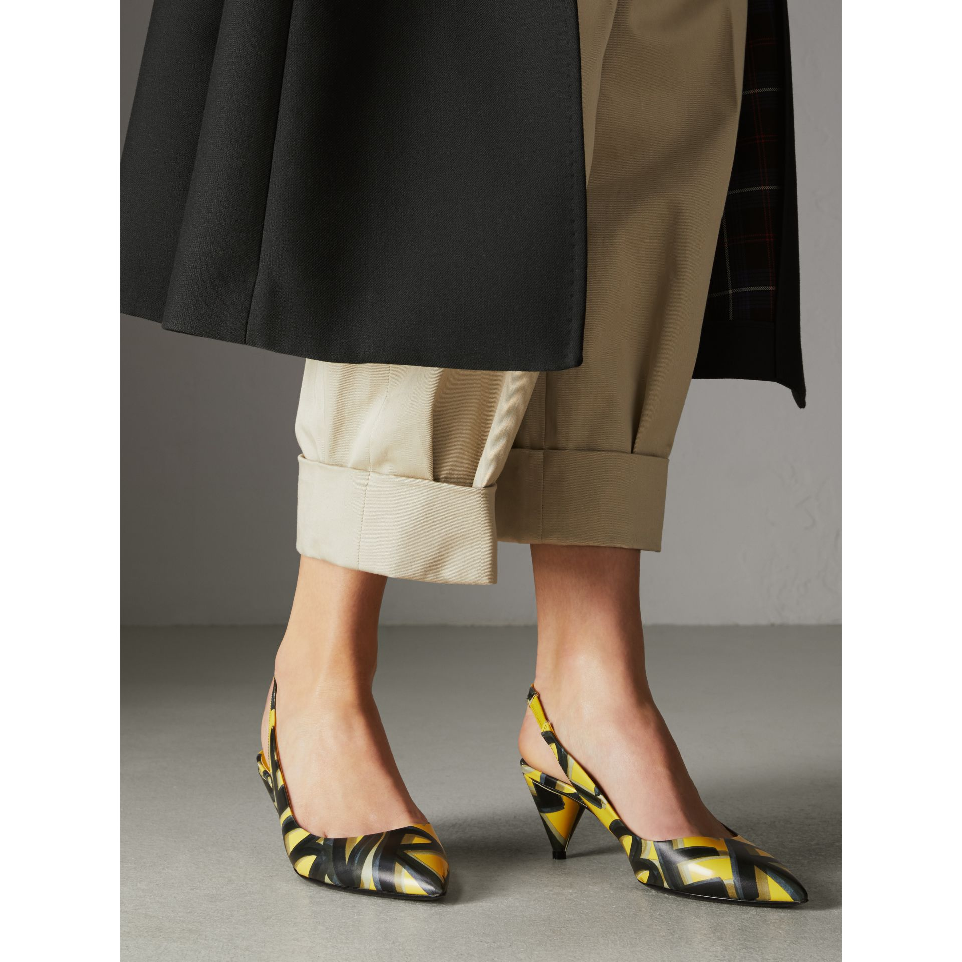 Graffiti Print Leather Slingback Pumps in Vibrant Yellow - Women | Burberry Singapore - gallery image 2