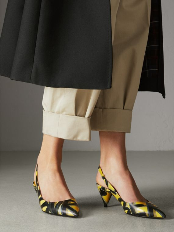 Graffiti Print Leather Slingback Pumps in Vibrant Yellow - Women | Burberry United Kingdom - cell image 2