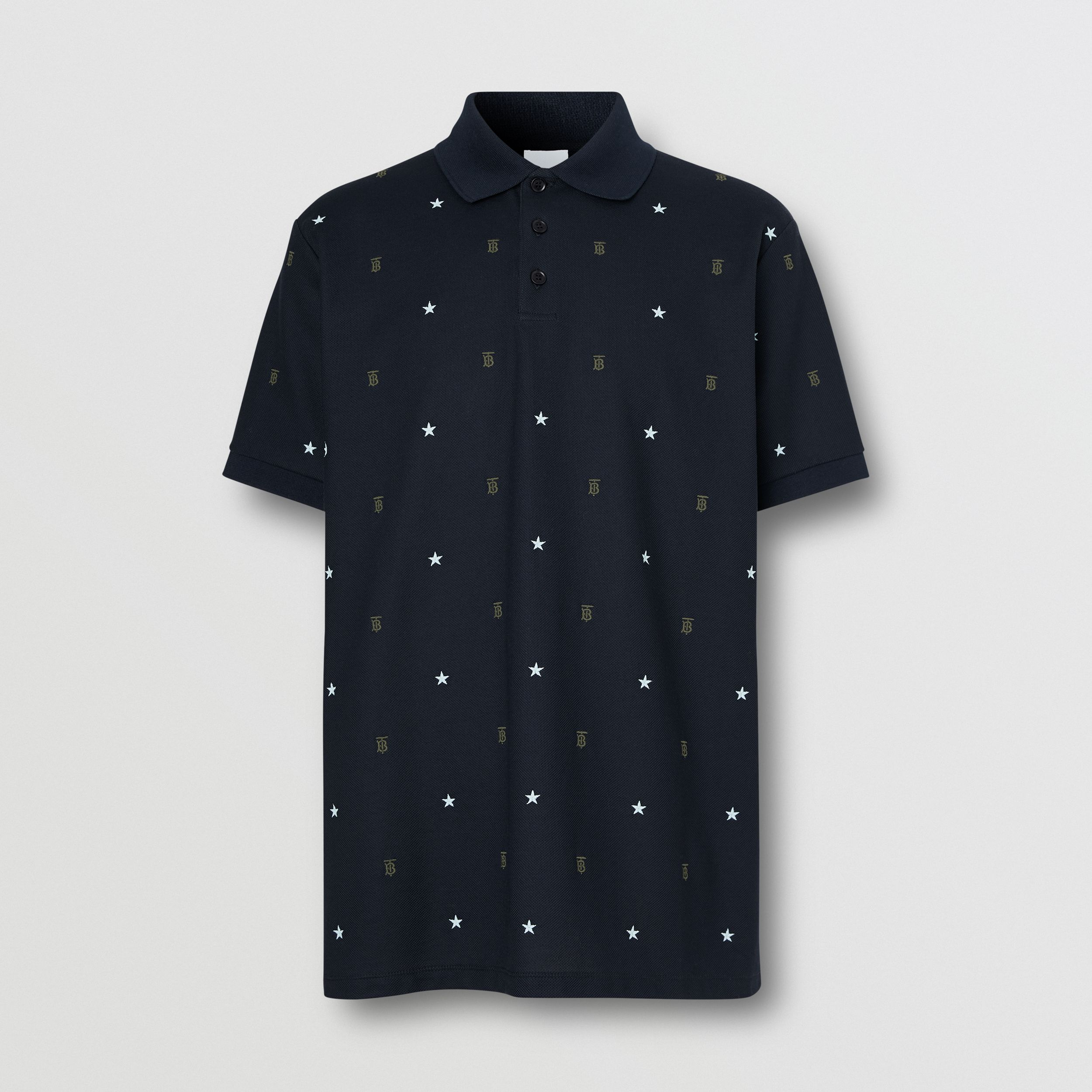 Star and Monogram Motif Cotton Piqué Polo Shirt in Navy - Men | Burberry - 4