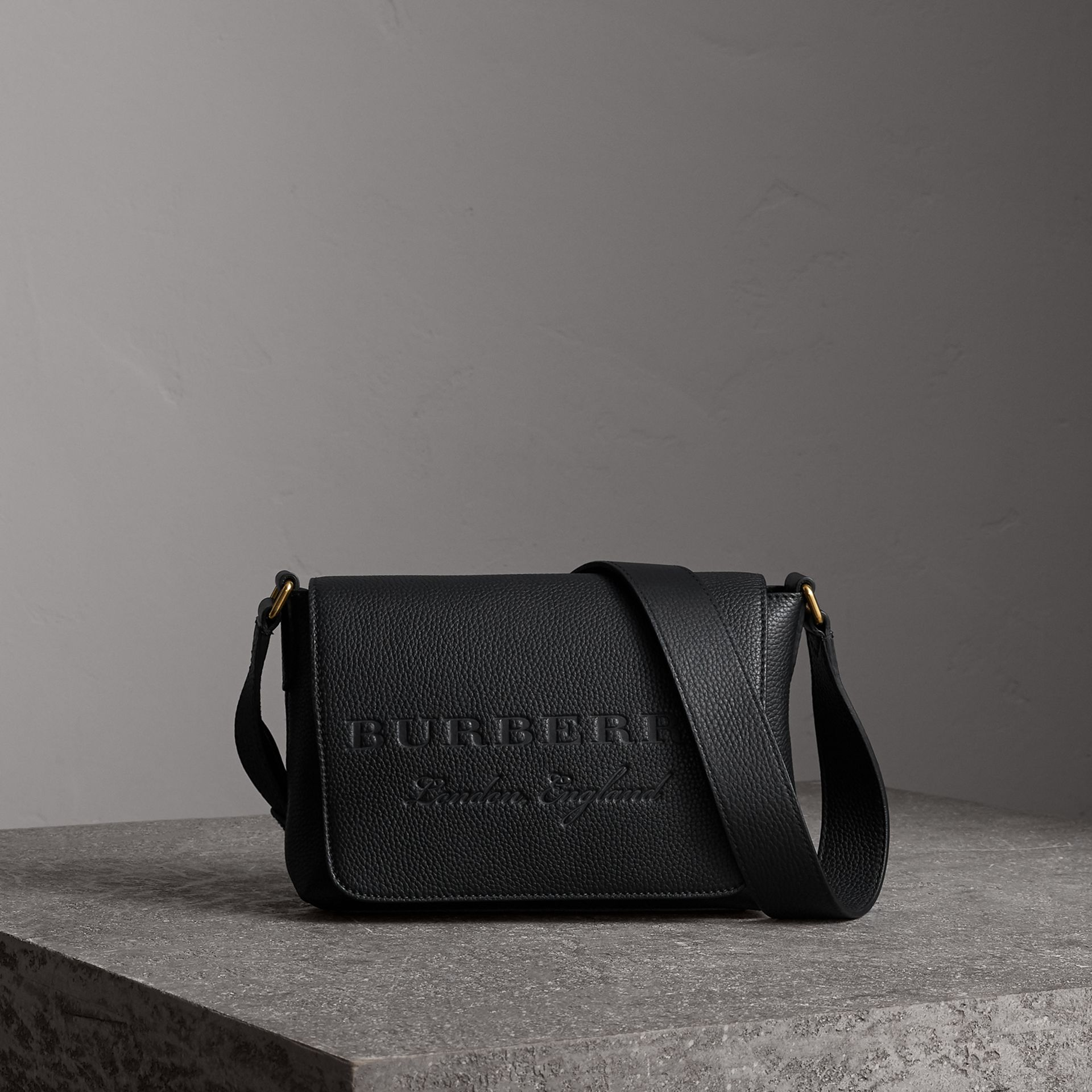 Small Embossed Leather Messenger Bag in Black | Burberry - gallery image 0