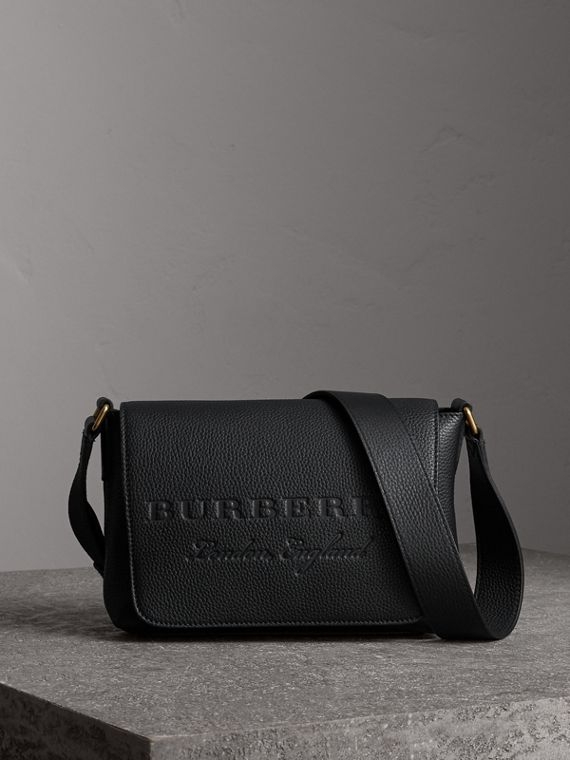 Small Embossed Leather Messenger Bag in Black