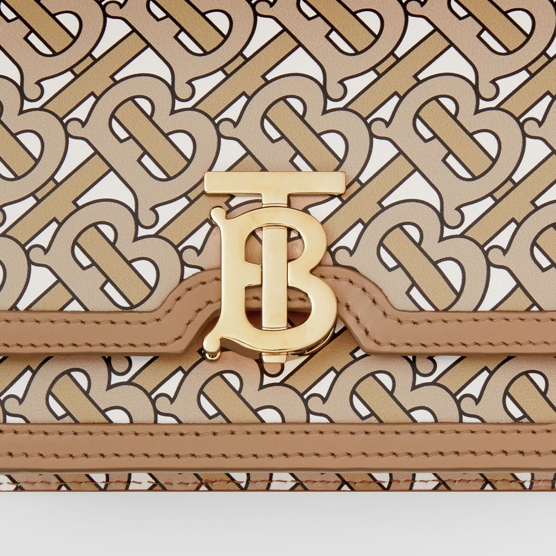 Mini Monogram Print Leather TB Bag in Beige - Women | Burberry Canada - gallery image 1