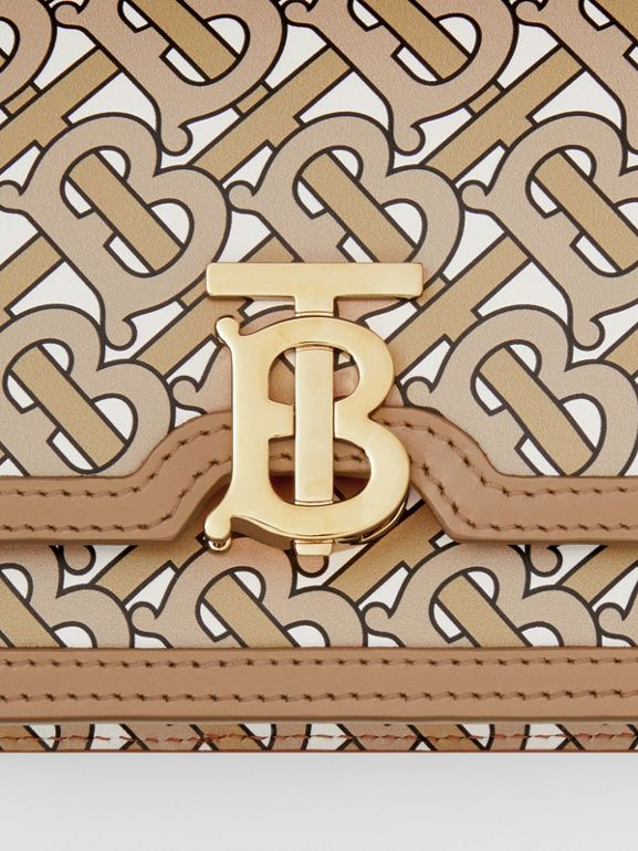Mini Monogram Print Leather TB Bag in Beige - Women | Burberry Canada - cell image 1