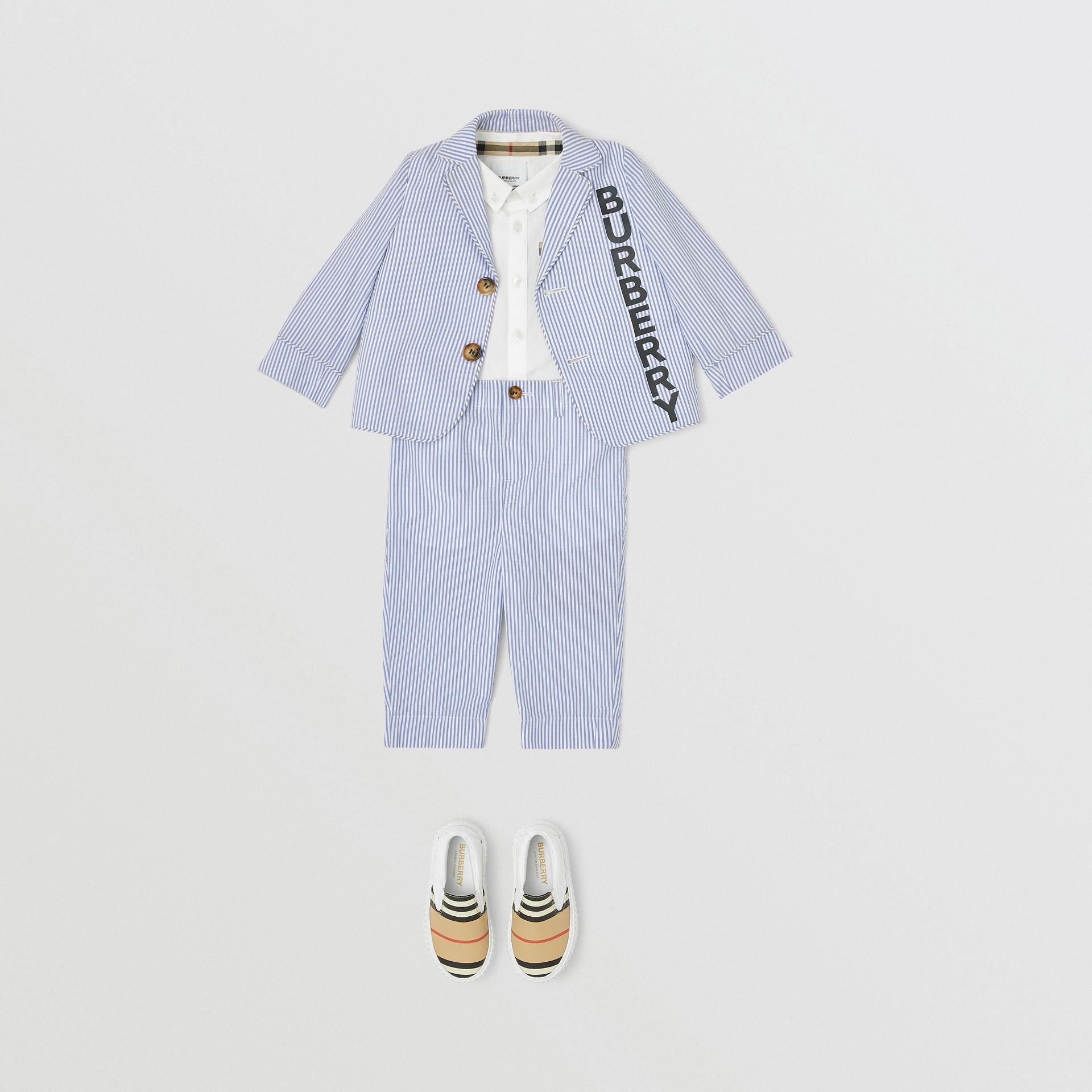 Striped Cotton Seersucker Tailored Trousers in Cornflower Blue - Children | Burberry - gallery image 2