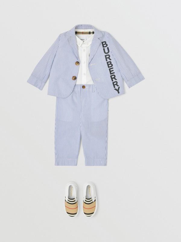 Striped Cotton Seersucker Tailored Trousers in Cornflower Blue - Children   Burberry - cell image 2