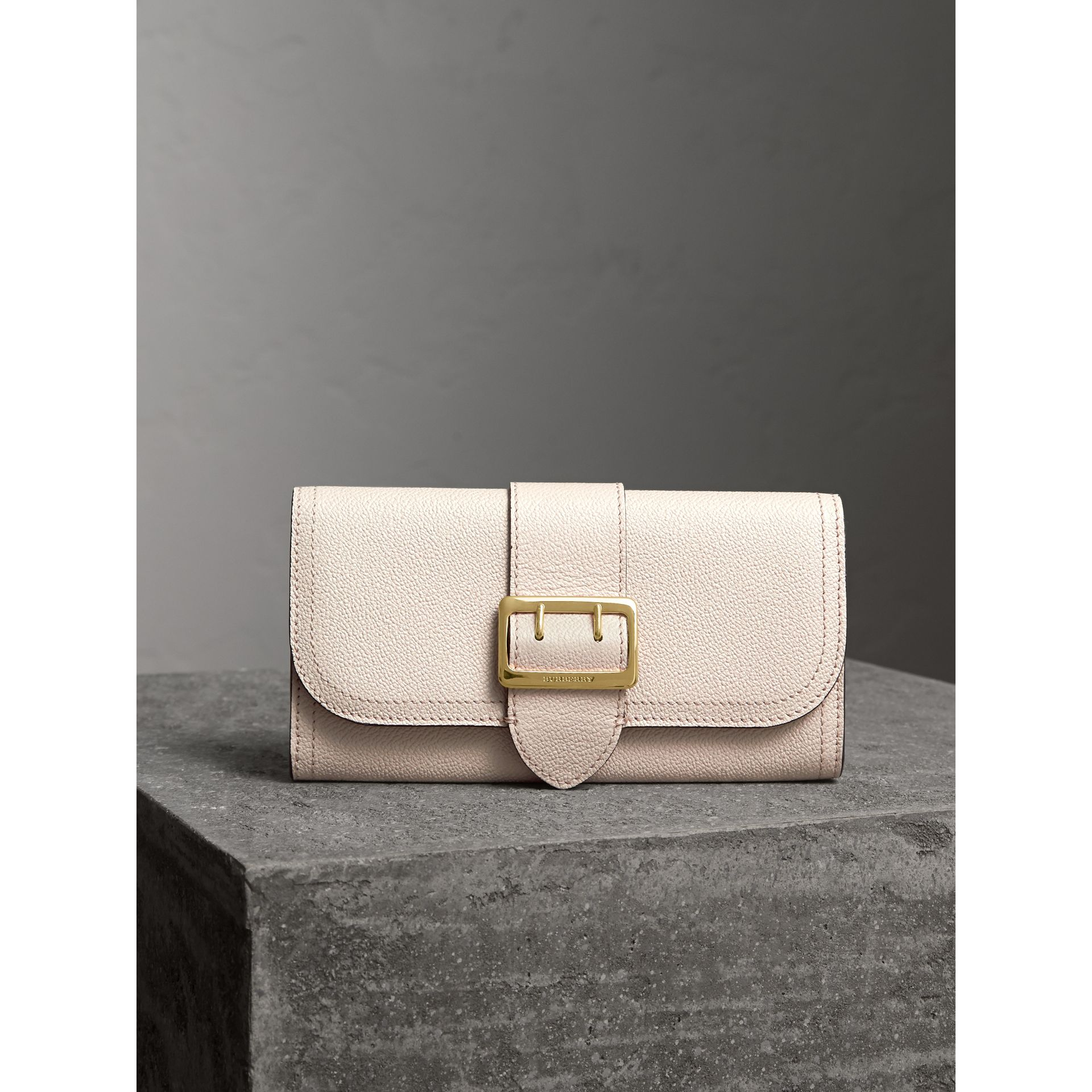 Textured Leather Continental Wallet in Limestone - Women | Burberry - gallery image 5