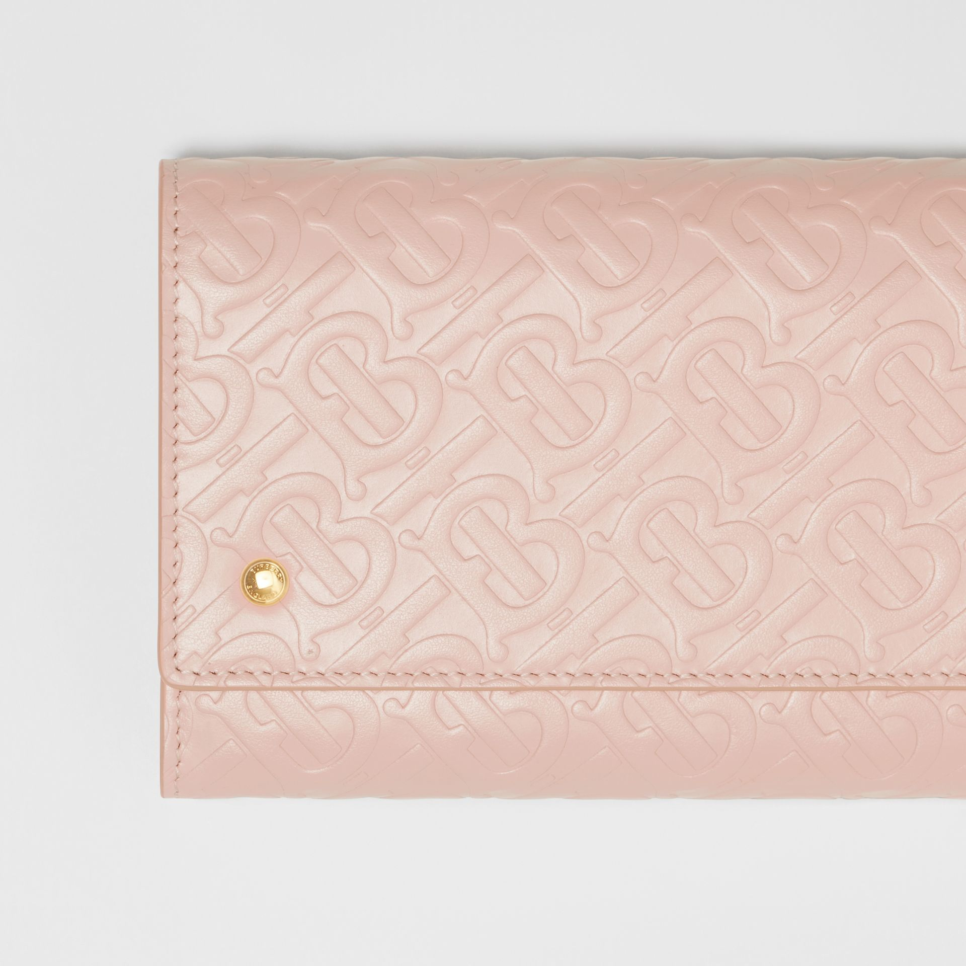 Monogram Leather Wallet with Detachable Strap in Rose Beige - Women | Burberry - gallery image 1
