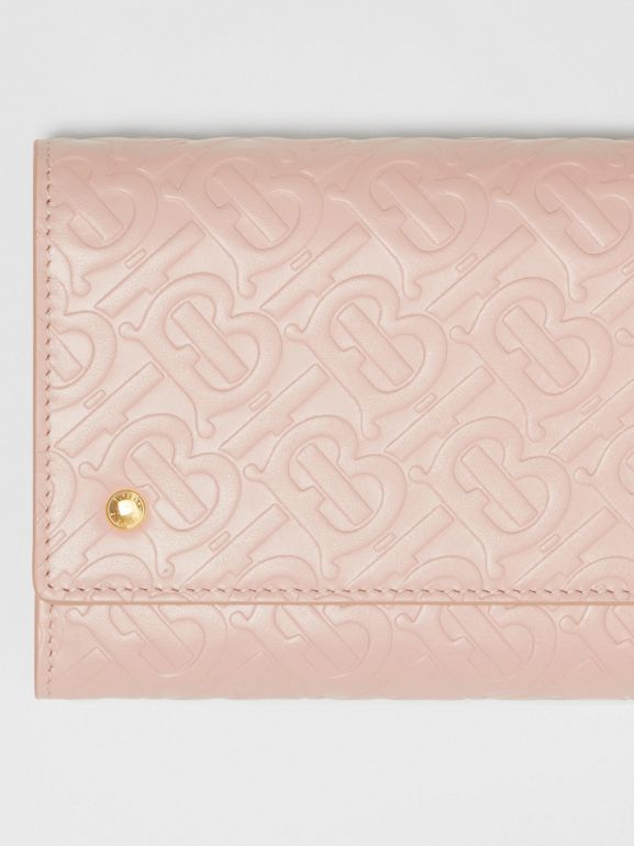 Monogram Leather Wallet with Detachable Strap in Rose Beige - Women | Burberry - cell image 1