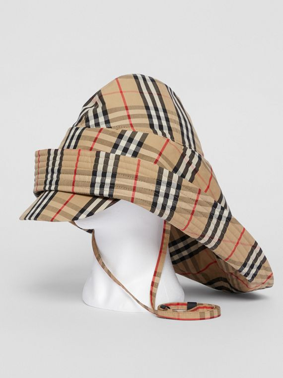 Vintage Check Rain Hat in Archive Beige