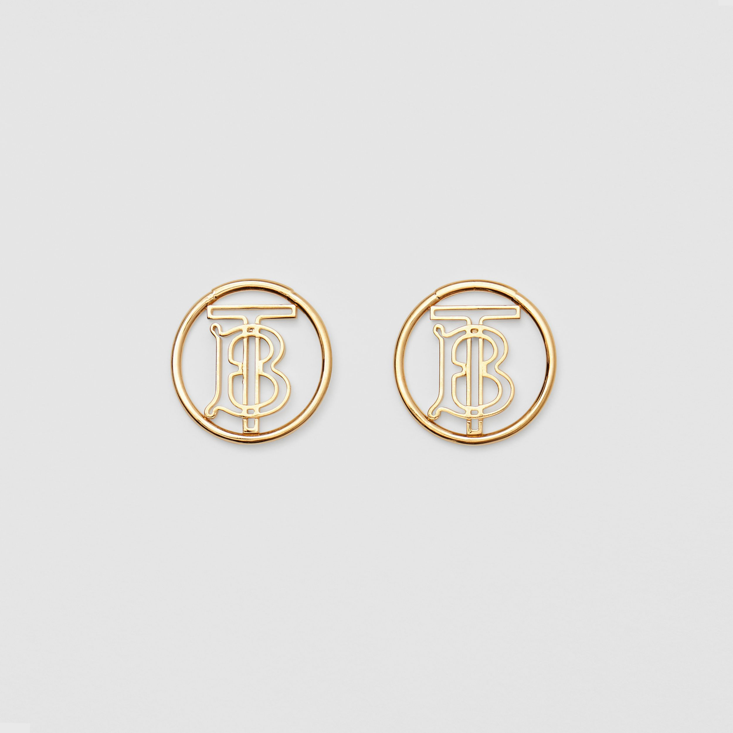 Gold-plated Monogram Motif Earrings in Light - Women | Burberry Australia - 1