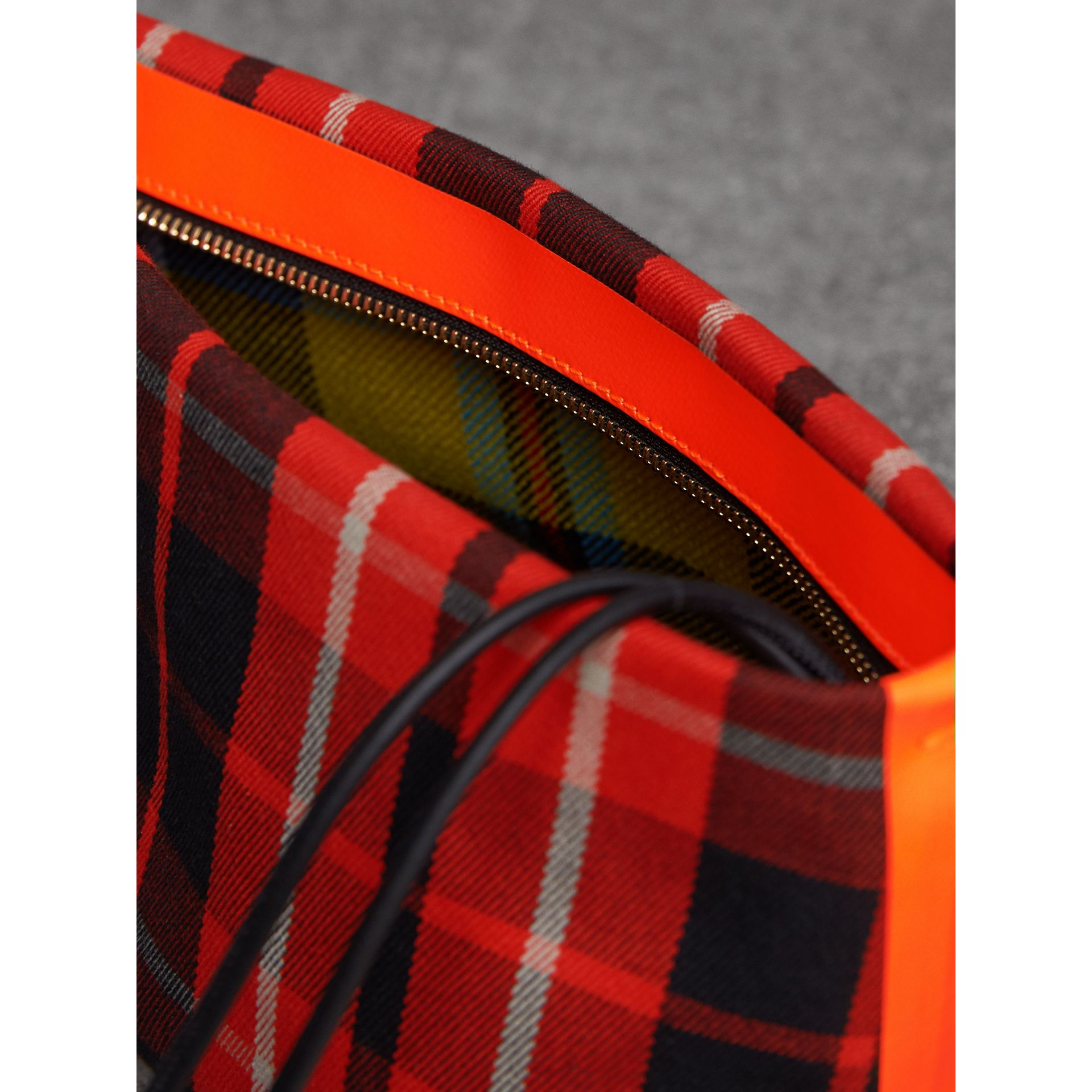 Tartan Cotton Clutch in Vibrant Red/flax Yellow | Burberry Australia - gallery image 6